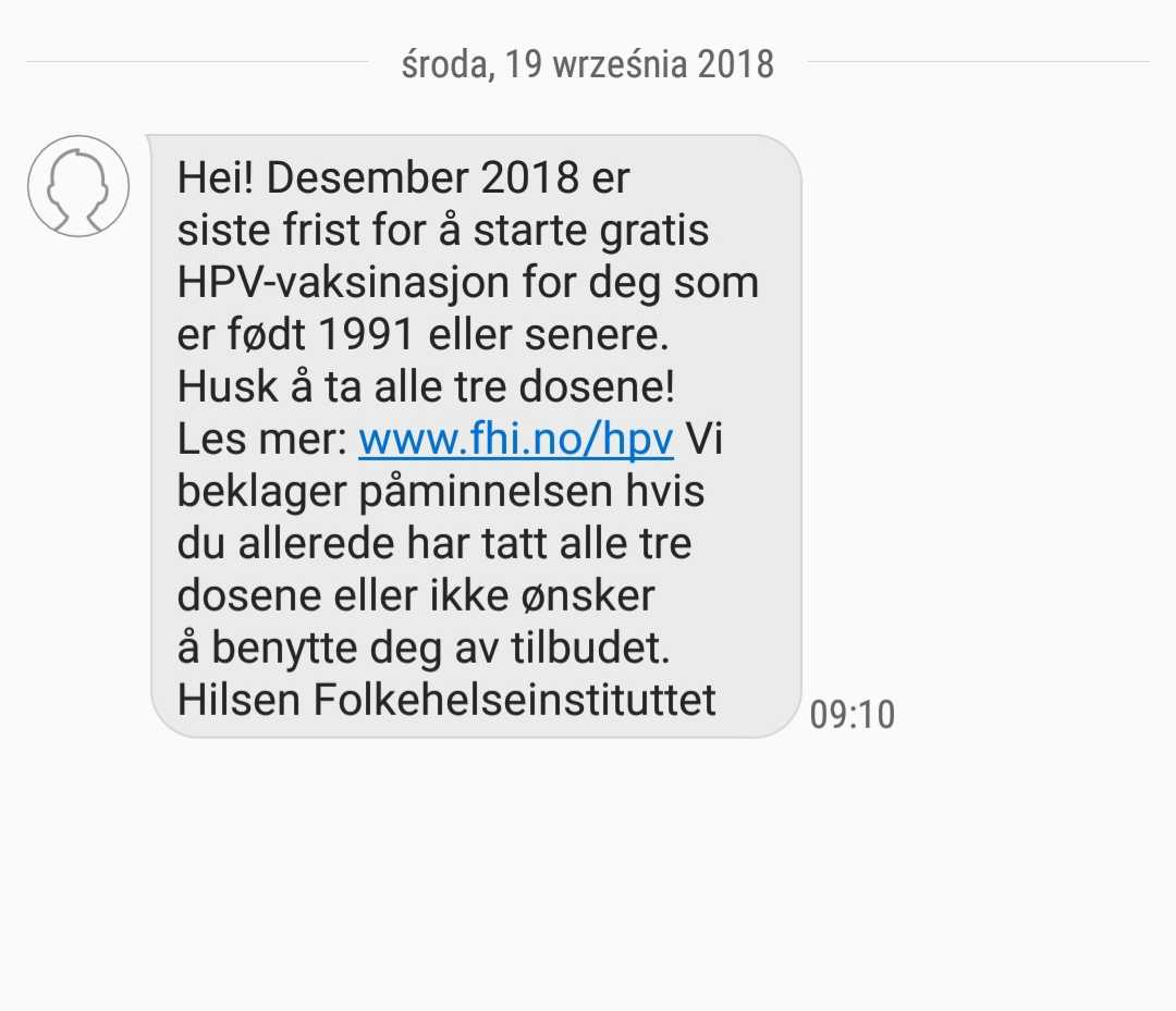 HPV wNorwegii